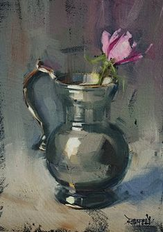 cathleen rehfeld • Daily Painting: Italian Pewter and Tea Rose - sold