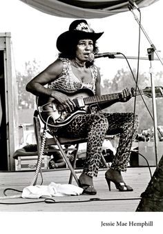 Jessie Mae Hemphill (October 18, 1923 – July 22, 2006) was an American electric guitarist, songwriter, and vocalist specializing in the North Mississippi hill country blues traditions of her family and regional heritage. Photo: Eyd Kazery.