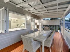 roofing on veranda Porches, Outdoor Rooms, Outdoor Living, Outdoor Furniture Sets, Queenslander House, Shade House, Pergola Attached To House, Australian Homes, Patio Roof