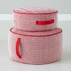 The Land of Nod   Kids One Seaters: Red Herringbone Pouf in Soft Seating  For around my little guys play/train table