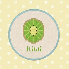 Half Kiwi. Fruit Modern Simple Cute Cross Stitch PDF Pattern.