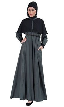 Two-Tone Belted Cape Abaya