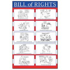 Make the Bill of Rights Interesting!    This chart provides a fun way for kids to learn the Bill of Rights. It features cartoon drawings of the first 10 amendments to the Constitution and gives a brief explanation of each amendment.   24 x 36 inches, laminated. Middle/high school.