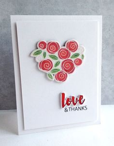 I made another card with the beautiful new stamp/die set from Simon Says Stamp, Roses for You...I LOVE these flowers...the last card the roses on stems, this time all together to form a pretty heart..