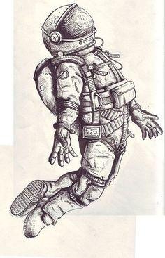 Astronaut tattoo is happening. More like brand new ' s album art Astronaut Drawing, Astronaut Tattoo, Astronaut Suit, Tattoo Drawings, Cool Drawings, Tattoo Muster, Tattoo Motive, Art Du Croquis, Desenho Tattoo