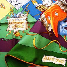 Authentic Vintage Hermes Silk Jacquard Scarf Le Carnaval De Venise Mint with Box