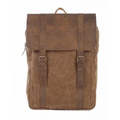 Canvas and leather backpack. Backpack handmade in Greece.