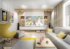 Obývací pokoj filmového fanouška ve variantách. Na běžné sledování je normální TV posazená na nábytku. Pro co nejkvalitnější filmový zážitek pak má majitel… Corner Desk, Tv, Furniture, Design, Home Decor, Corner Table, Decoration Home, Room Decor, Television Set