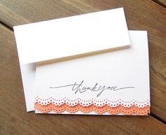 White and Coral Thank You Card-Lace Thank You Card-Coral Lace Card-Lace Wedding Thank You Card-Spring Thank You Card by Lemon Drops & Lilacs on etsy.com
