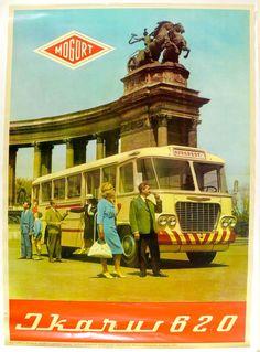 Fery Antal (graf.) - IKARUS 620 busz a Hősök terén. (Reprint) - Múzeum Antikvárium