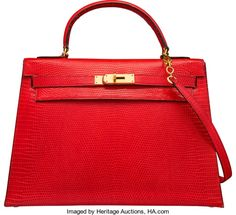 Hermes 32cm Rouge Vif Salvator Lizard Sellier Kelly Bag with GoldHardware. N Circle, 1984. Good to Very GoodConditio...