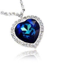 Fancy large bermuda blue austrian crystal titanic heart of the large titanic blue crystal heart pendant necklace made with swarovski elements nice ideas aloadofball Image collections