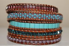 Beaded Wrap Bracelet  Brown Leather  Bleu от homemadewithpleasure