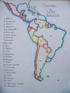 map of south america by a waldorf grader Physical Geography, Geography Lessons, Human Geography, World Geography, Teaching Maps, Teaching Geography, Teaching Spanish, 6th Grade Social Studies, 6th Grade Art