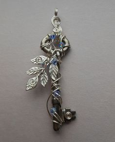 Silver Leaves Wire Wrapped Key Pendant -- Silver Leaf Sprig, Silver Wire, Pale Blue/Purple Crystals, Fairy Jewelry