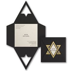 Let your style shine on this Bar Mitzvah invitation or Bat Mitzvah invitation! A beautiful gold star is on the black wrap with ecru shimmer card inside. Invitation Card Design, Invitation Cards, Stationery Design, Brochure Design, Unternehmensbroschüre Design, Bar Mitzvah Invitations, Wedding Invitations, Mail Jeevas, Pochette Cd
