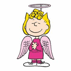 Sally dressed in an angel costume