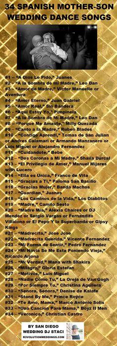 34 Spanish Mother Son Dance Songs for Your Wedding - http://www.r3volutionweddings.com/2015/11/03/spanish-mother-son-dance-songs-for-your-wedding/