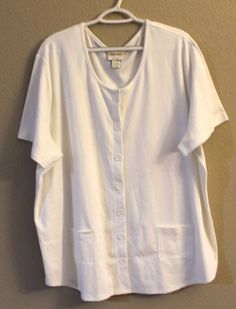 48eb0b48b31 ESSENTIALS by MAGGIE 26 28W Cotton Poly Blend Shirt Jacket White Pockets   ESSENTIALSbyMAGGIE  ShirtJacket