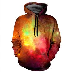 Colourful Galaxy Hoodie This item is made with an extremely soft garment using HD Photographic Printing Technology. The fine mixture of polyester and cotton allow us to print high definition images and create unique, fresh and innovative products.