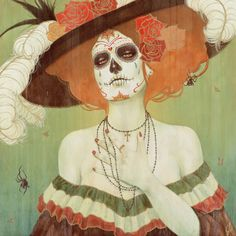 La Catrina pillow - artwork by Sylvia Ji Illustrations, Illustration Art, Book Of Love, Sylvia Ji, Der Tot, Dead Makeup, Fx Makeup, Day Of The Dead Art, Arte Popular