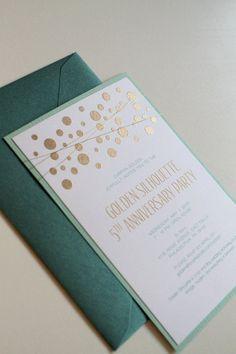 Gold and Mint Wedding Invitations, Confetti Embossed Wedding Invitations with Gold Wire Wrap, Modern Invitations, Emerald Green