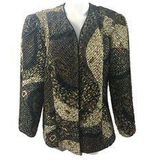 52.45$  Watch here - http://vikne.justgood.pw/vig/item.php?t=m21a6037958 - Joan Davis Jo-Hanna York Vintage Elegant Geometric Evening Jacket Size 12 Lined