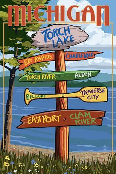Torch Lake, Michigan - Sign Destinations (Art Prints available in multiple sizes)