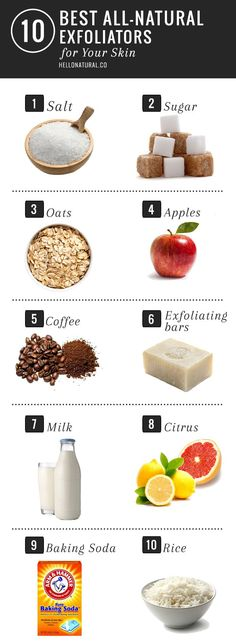 10 All-Natural Exfoliators for Your Skin | http://hellonatural.co/10-best-natural-skin-exfoliators/
