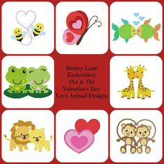 Love Animals Valentine's Day Digital Machine Embroidery Designs 4X4 & 5X7 - Breezy Lane Embroidery