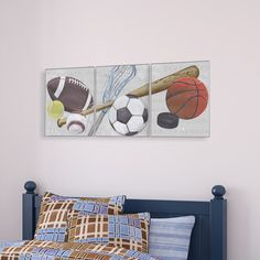 Found it at Wayfair - The Kids Room Sports Balls Triptych Wall Plaque