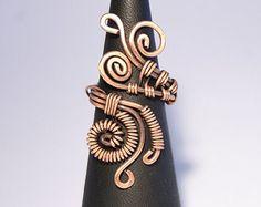 Kupferdraht mit Korallen Ring Draht gewickelt Schmuck