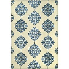 Hand-hooked Miff Ivory/ Blue Wool Rug (3'9 x 5'9)