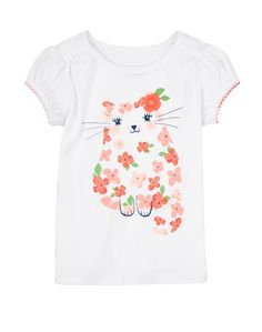 Gymboree Girl Cherry Blossom Kitty Tee