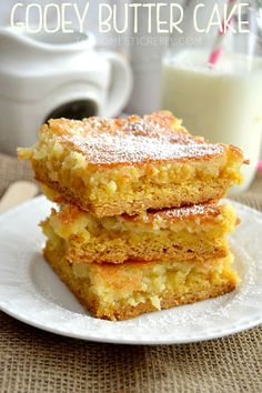 These Gooey Butter Cake Bars are the BEST! Rich, decadent, buttery and gooey, they're the perfect treat!