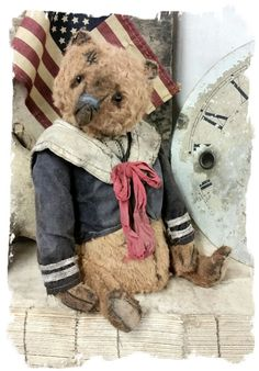 "Cabinet Size.... Aprrox. 7"" tall (sits @ 5"" ) - Antique Classic Style aged brown color old sailor teddy bear, wearing handmade sailor top..."