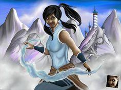 Portrait cadeau personnalisé sur le thème de l'avatar Korra.