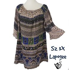 af9a5e5939e Details about Lapogee Womens Plus Size Tunic Sz 3X Bell Sleeve Lightweight  Rayon Long Top