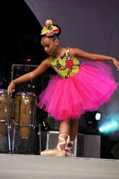Tulle and african print little ballerina dress. Combining cultures starting with our future generation couldn't have been done better.
