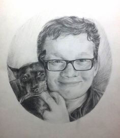 Pencil portart - Mila with his dog