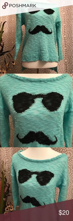 AMAZING Green Mustache High Low Sweater Top I mustache you a question....do you like this shirt? 😂😎 This high low long sleeve sweater is slightly longer in the back and features an adorable mustache man with sunglasses and a super pretty green shade. Semi-sheer material. I recommend wearing a tank top underneath. 100% acrylic. So stinking cute!!! Xhilaration Sweaters Crew & Scoop Necks