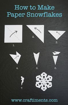 How to Make a Six Sided Paper Snowflake by Craftiments - Make them out of wax paper and hang them in your windows. Hint: Glue them to the windows with washable glue stick, it washes off easily with a little soapy water. Paper Snowflakes Easy, Snowflakes For Kids, Paper Snowflake Template, Diy Christmas Snowflakes, Paper Snowflake Patterns, Snowflake Cutouts, Simple Snowflake, Snowflake Craft, Christmas Crafts For Kids