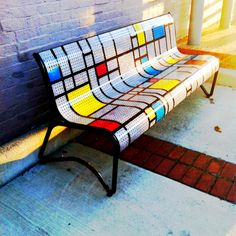 Art deco park bench in downtown Bryan, TX