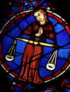 Cathédrale Notre Dame de Paris, vitrail de la Balance, signe du zodiaque
