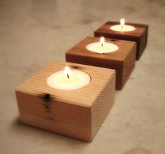Three Wood Candle Holders