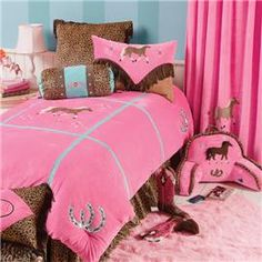 bedding for the girls room goes with the colors i already have going on and their LOVE of horses and riding.