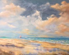 Oil painting sailboats beach and ocean  seascape dunes