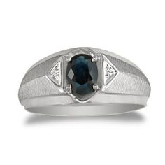Sapphire & Diamond Men's White Gold Oval Ring Available Exclusively From Gemologica.com