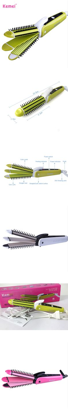 Kemei  3 in 1 Hair Curler Multi-function Corn Curls Hair Straightener Comb Straightening Iron woman Fashion Styling Tools
