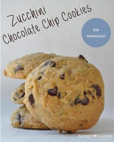 Zucchini Chocolate Chip Cookies - made these with 2 cups of whole wheat flour instead of 1 WW and 1 white. Dough is sticky, and cooked closer to 20 mins. I kept them in the fridge because they were so moist. Strong taste of olive oil in first bite but otherwise very yummy.